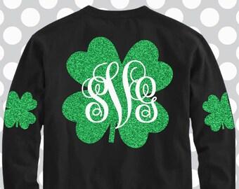 shamrock svg, shamrock monogram svg, st Patrick's day svg, saint patricks, svg, svg, st patricks day svg, SVG, DXF, Eps, png, elbow patch