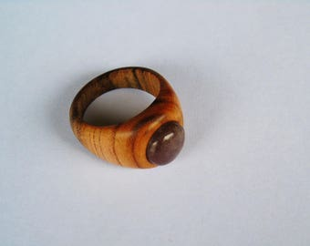 Wooden ring with apricot with purple stone of the Valley of the Mosel Germany