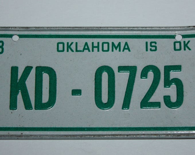 1978 Oklahoma is OK Wheaties Post Cereal Premium Bike Mini Metal License Plate