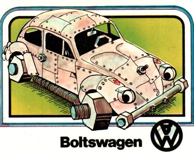 1976 Wonderbread Crazy Cars Boltswagen Volkswagon Trading Card