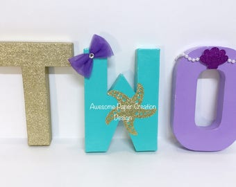 Mermaid letters,8inches,2nd birthday party,2nd birthday photo props,2nd party decorations,mermaid party decorations,TWO letters,