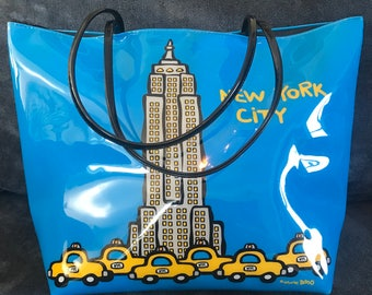 90s Marc Tetro NYC Taxi Cab Tote Bag Empire State Building New York City Zipper Blue Yellow Purse Weekend Travel Carry On Pocket Book Large
