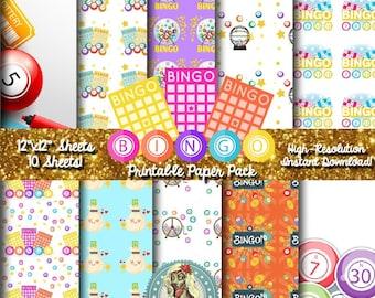 BINGO Gifts, Bingo Cards, Bingo Balls, Bingo Chips, Bingo Bag, Scrapbook Paper, Digital Paper Pack, Commercial Use, Instant Download