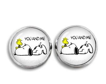 Snoopy and Woodstock Stud Earrings Snoopy Jewelry 12 mm Stud Earrings Geeky Fangirl Fanboy Gift for Best Friend
