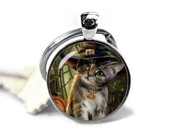 Halloween Kitten Key Ring Halloween Cat Keychain Halloween Cute Kitten Jewelry