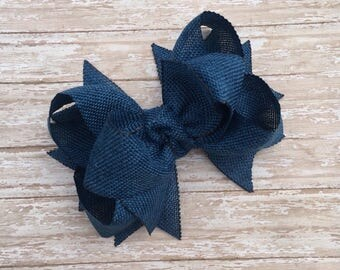 Double stacked blue hair bows, double layer hair bows, double stacked hair bows, jute hair bows, 5 inch hair bows, big hair bows, denim bows