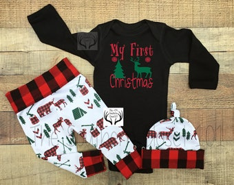 Baby Boy Coming Home Outfit,Baby boys Christmas Outfit,Newborn Boy Coming Home Outfit,Baby Boy,Newborn,Babies, Bears,Deer,Green Red Plaid