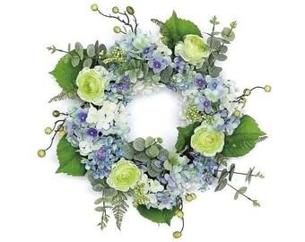 "ESE Hydrangea & Wild Ranunculus Wreath, 22"""
