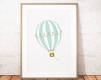 Hot Air Balloon Nursery Print, Printable Art, Hot Air Balloon Print, Mint Printable Art, Nursery Wall Art, Instant Download
