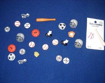 Sports Button Set of 23 Baseball Basketball Soccer Football Rollerskate Helmet Glove Bat Buttons varied size Boys Kids Sport Buttons