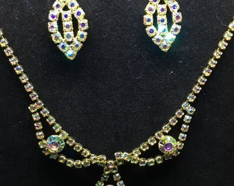 Vintage 1940/50s Aurora Borealis Earring and Necklace Set - earrings converted from clip-on to pierced - Perfect Wedding Set