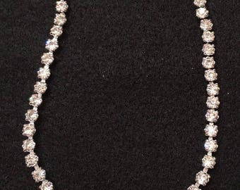 Vintage 1940/50 Rhinestone Wedding Set - Necklace and Earrings (converted to pierced from clip-on)