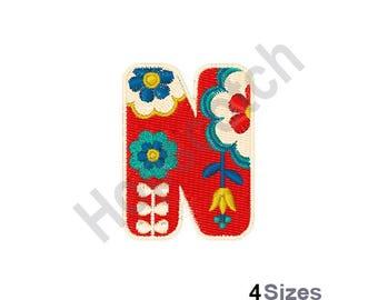 Letter N - Machine Embroidery Design, Scandinavian Font, Floral