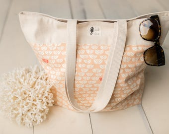 Market Tote, Pink Sproutlet and Natural