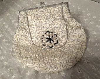Vintage Cream Satin Beaded and Embroidered Evening Bag. As New. c1960s. Snake Chain Handle.