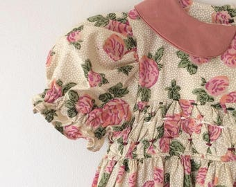 Vintage Inspired Floral Hand Smocked Dress