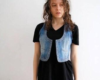 Women Cropped Vest Denim Vest Women Washed Out Vest Jeans Waistcoat Medium Size Vest