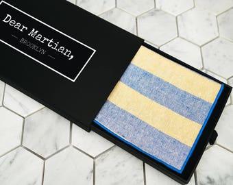 "Yellow Striped Pocket Square. Mens Yellow Handkerchief. Wedding Gift Box. 16""x 16"" handkerchief. Dear Martian Pocket Squares. Mens hanky."