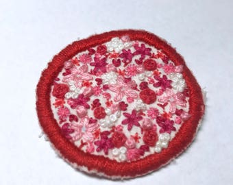 Valentine's flower bed hand embroidered iron on patch