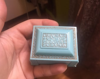 Blue Art Deco Celluloid ring box