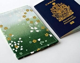 Gold, White, CHERRY BLOSSOM Travel Passport Cover, Passport Holder, Passport Case, Passport Protector, Fabric Cover, Passport