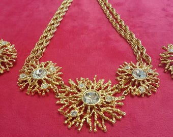 Kenneth Jay Lane Vintage Necklace and Clip Earrings