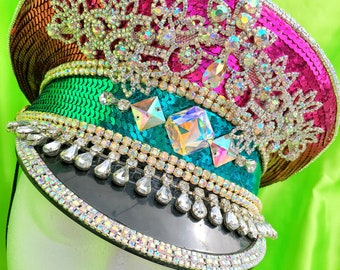 Burning man, Captain's Hat, General hat, festival hat, military hat, bohemian, coachella, rave, edc, costume,  marching band, galactic, edm,