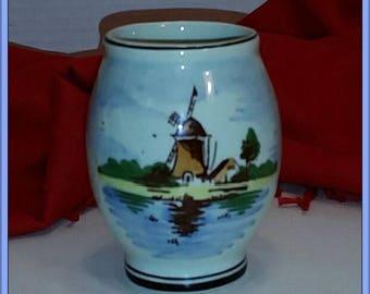 Delft Blue Holland Hand Painted Miniature Polychrome Landscape Windmill Vase