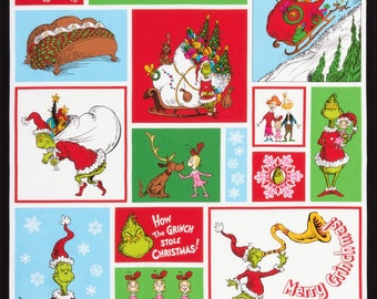 Pre-Order Robert Kaufman How the Grinch Stole Christmas Woven Cotton Fabric Panel - By the Panel - Available July 2017