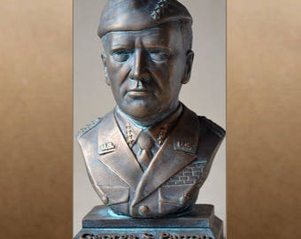 George S. Patton color bronze bust figure sculpture