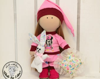 Sleeping doll Textile doll Tilda doll with bunny Fabric art doll with pillow Interior doll Rag doll Cloth doll for gift Doll home decor