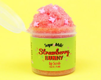 Strawberry Bunny Lip Scrub / Sugar Scrub / Lip Balm / Vegan Lip