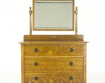 Mirrored Vanity | Antique Tiger Oak | Beveled Mirror | Scotland, 1930 | B847