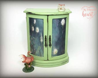 Jewelry Armoire, Hand Painted Green Jewelry Box, Annie Sloan Chalk Paint, Gift For Wife, Daughter, Best Friend Gift, Chic Upcycled, OOAK