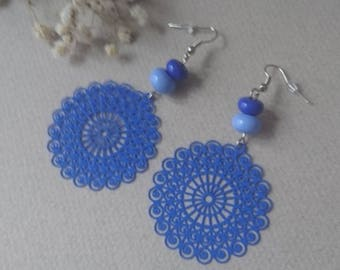 Earrings prints and blue glass beads