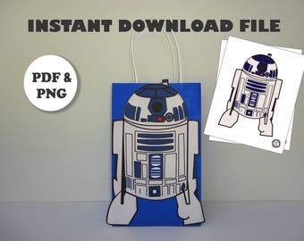 PRINTABLE--> Star Wars R2D2 template for Goodie Bags/ Star Wars Birthday Party Decorations/ Star Wars Party favors
