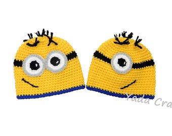 Minion hat,Minion costume hat,Halloween hat,Adult hat,Toddler minion,character hat,Newborn,Baby,Boy,Kid,Girl,Woman,Men,adorable,MakeToOrder