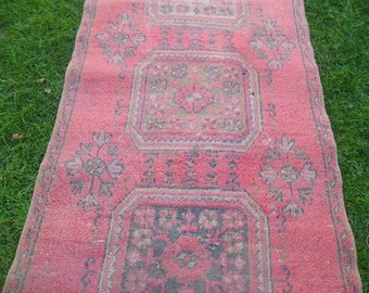 oushak rug vintage handmade area pink bohemian eclectic country contemporary wool rectangle persian  rugs,185x98cm