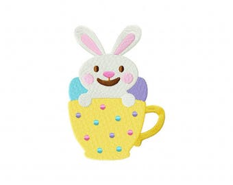 Easter bunny rabbit teacup machine embroidery design