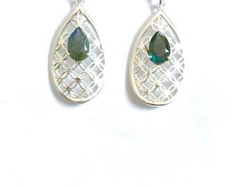 Labradorite drop earrings, Sterling silver dangle earrings, gemstone Jewellery, silver earrings,natural labradorite,statement earrings, gif