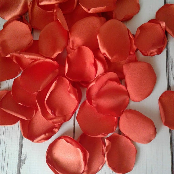 Burnt orange rose petals, Burnt orange wedding, bridal shower decor ...