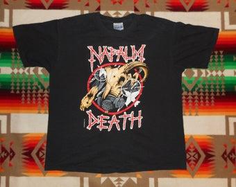 1991 Naplam Death Concert T Shirt Size L/XL Grindcore earache records morbid angel bolt thrower death metal carcass