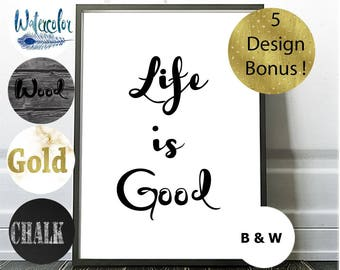 Life is Good, Quote Print, Bonus Offer, Blue Watercolor, Gold Typography, Digital Art, Feather Wall Art, Inspirational Quotes, Cursive Print
