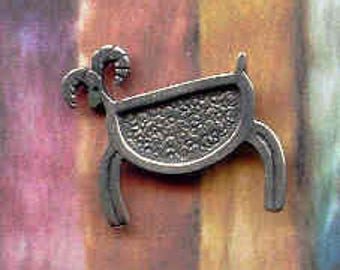 Small pewter Petroglyph sheep clutch pin