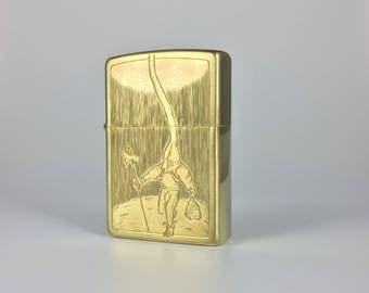 Hand-engraved brass zippo lighter / brass zippo lighter / zippo / custom zippo / hand-engraved custom zippo /