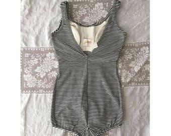 Vintage 1950s Jantzen One-Piece Black and White Striped Swimsuit Bathing Suit small
