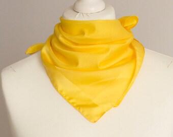 "vintage small scarf, retro square scarf, polyester fabric women scarf shawl bandana kerchief 48cm / 19"" plain yellow"