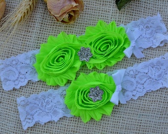 Green Wedding Garter, White Garter Set, Neon Green Garter, Keep Toss Garter, Bridal Garters, White Wedding, Rhinestone Garter, Pearl Garter