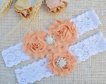 Wedding Garter Peach, Lace Garter Peach Wedding Belt, Gift For Bride, Lace Garter Set, Garter Keepsake, Bridal Gift Peach, Blush Pink Garter