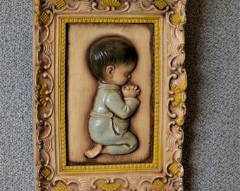 Little Boy Praying Mini Plaque 3 1/2 x 4 1/2